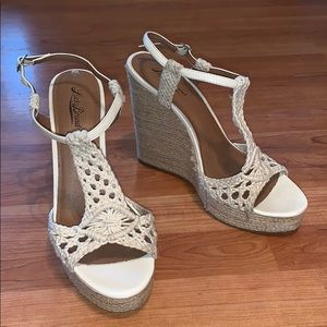 Lucky Brand | 'Cream Crochet Wedge Sandal